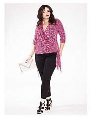 Lark Wrap Top in Fuchsia Flame