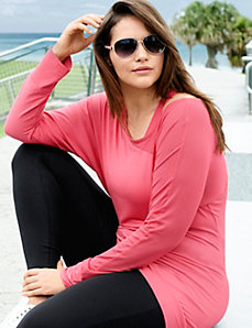 Mesh shoulder asymmetric tunic
