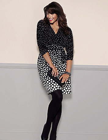 Plus Size Dot Faux Wrap Dress by Lane Bryant