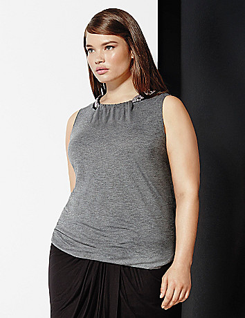 6th & Lane embellished neck tank