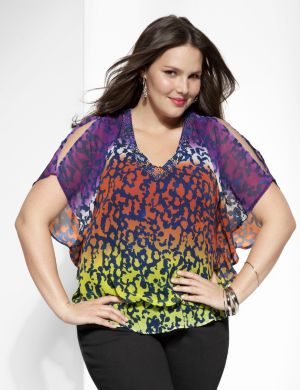 Embellished ombre drama top