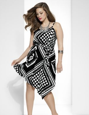 Tribal dress with asymmetric hem
