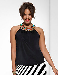 Plus Size Embellished Shirred Tank by Lane Bryant