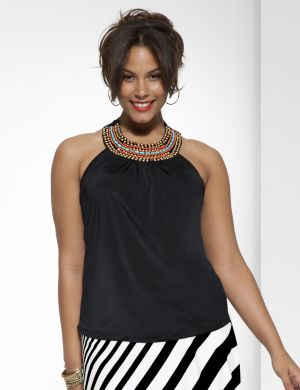 Embellished shirred side tank