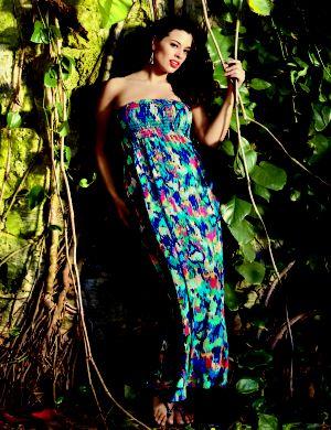 Splatter print maxi tube dress