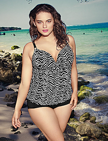 Zig zag swim tank with built in plunge bra by Cacique
