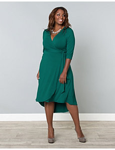 Winona Hi-Lo Wrap Dress by Kiyonna