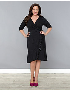 Flirty Flounce Wrap Dress by Kiyonna