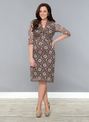 3/4 Sleeve Scalloped Boudoir Lace Dress