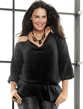 Plus Size Cold Shoulder Blouse by Lane Bryant