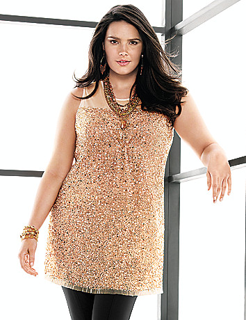 Plus Size Sleeveless Sequin Tunic by Lane Bryant