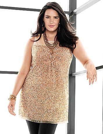 Plus Size Sleeveless Sequin Tunic by Lane Bryant