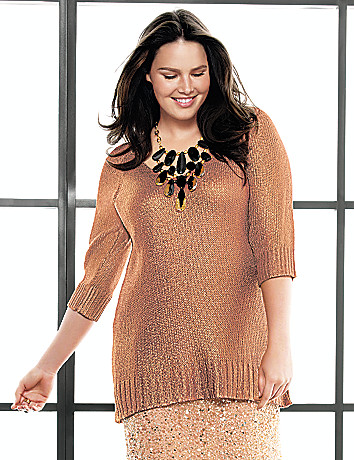 Foiled V-neck sweater by Lane Bryant