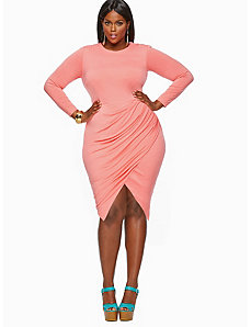 'Andrea' Assymmetric Faux Wrap Skirt Dress - Coral by Monif C.