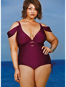 Anguilla Cold Shoulder Swimsuit - Merlot by Monif C.