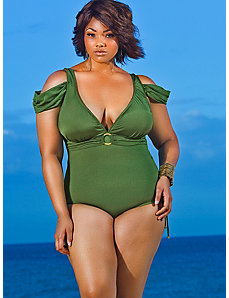 Anguilla Cold Shoulder Swimsuit - Olive by Monif C.