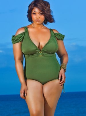 Anguilla Cold Shoulder Swimsuit - Olive