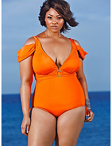 Anguilla Cold Shoulder Swimsuit - Burnt Orange by Monif C.