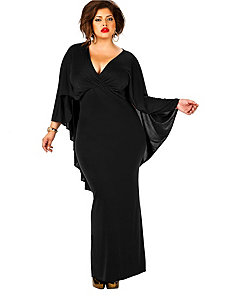 Bridgette Cape-Back Maxi Dress - Black by Monif C.