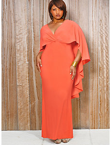 Bridgette Cape-Back Maxi Dress - Coral by Monif C.