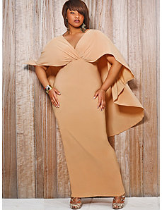 Bridgette Cape-Back Maxi Dress - Nude by Monif C.