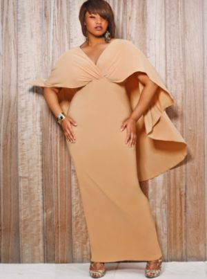 Bridgette Cape-Back Maxi Dress - Nude