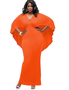 Bridgette Cape-Back Maxi Dress - Orange by Monif C.