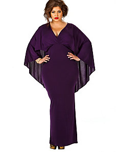 Bridgette Cape-Back Maxi Dress - Purple by Monif C.