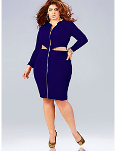'Cheyenne' Cutout Zipper Dress - Royal by Monif C.