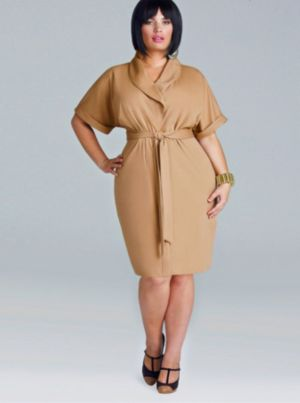 'Coby' Ponte Button Front Dress - Tan