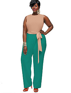 Codi Colorblock Jumpsuit - Mauve/Jade by Monif C.