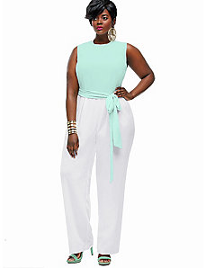 Codi Colorblock Jumpsuit - Mint/Off White by Monif C.