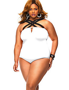 Columbia Crisscross Strap Swimsuit - White by Monif C.