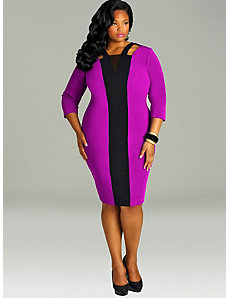 Dominique' Colorblock Cold Shoulder Dress-Magenta by Monif C.