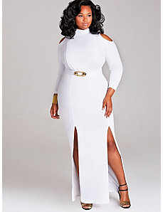 Eva Cold Shoulder Double Slit Dress by Monif C.