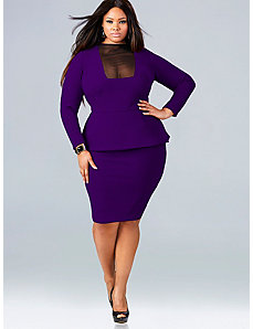Faith Mesh Front Peplum Dress - Purple by Monif C.