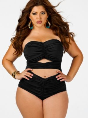 Fiji' Sweetheart Ruched Swimsuit - Black