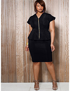 Fiona Front Zip Peplum Dress - Black by Monif C.
