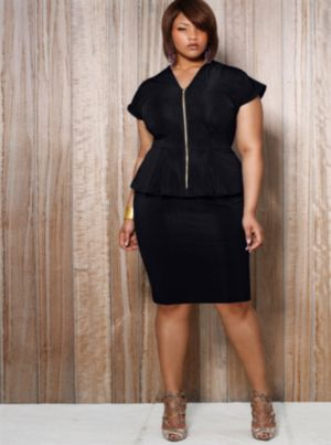 Fiona Front Zip Peplum Dress - Black