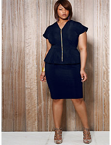 Fiona Front Zip Peplum Dress - Navy by Monif C.