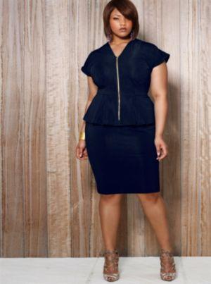 Fiona Front Zip Peplum Dress - Navy