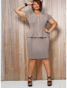 Fiona Front Zip Peplum Dress - Taupe by Monif C.
