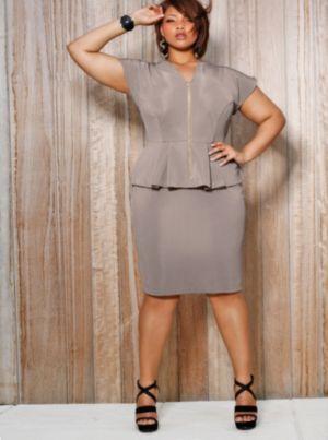 Fiona Front Zip Peplum Dress - Taupe