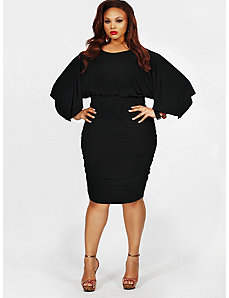 'Gia' Batwing Ruched Dress - Black by Monif C.