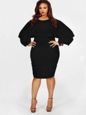 'Gia' Batwing Ruched Dress - Black