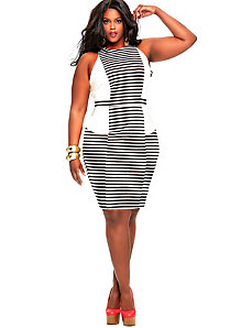 Heidi Stripe Yacht Dress - Ivory by Monif C.