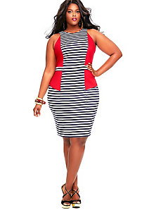 Heidi Stripe Yacht Dress - Red by Monif C.