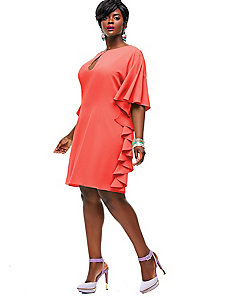 Indiana Ruffle Shift Dress - Coral by Monif C.