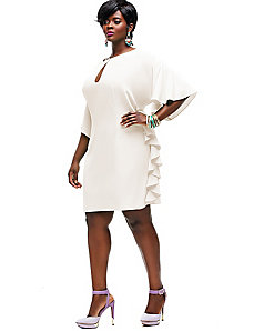 Indiana Ruffle Shift Dress - Off White by Monif C.
