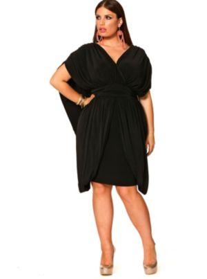 June Grecian Draped Dress - Black